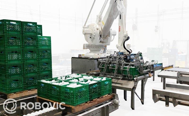 Milk crate palletizer in action