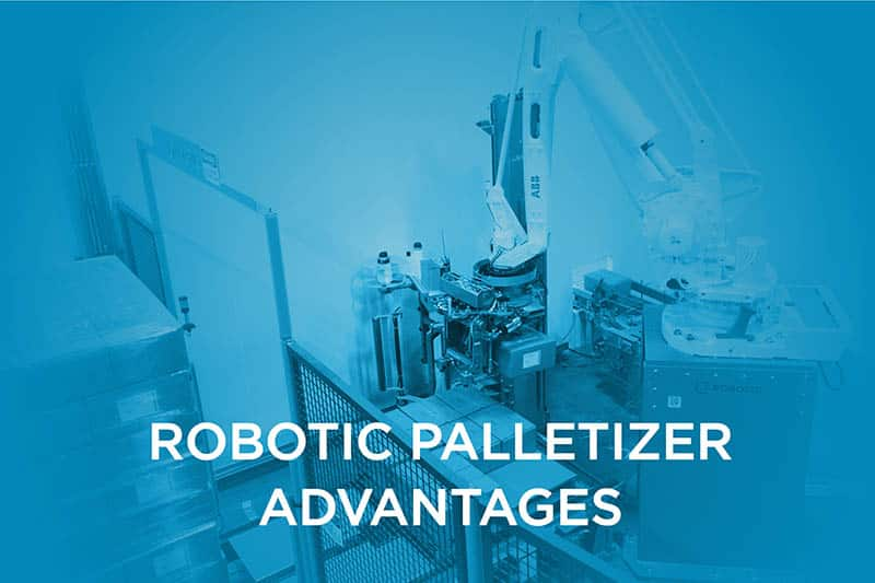 The robotic palletizer saves up to 30% more space than conventional palletizing systems.