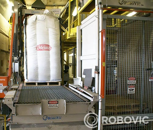 solution de remplissage de big bag installée par robovic