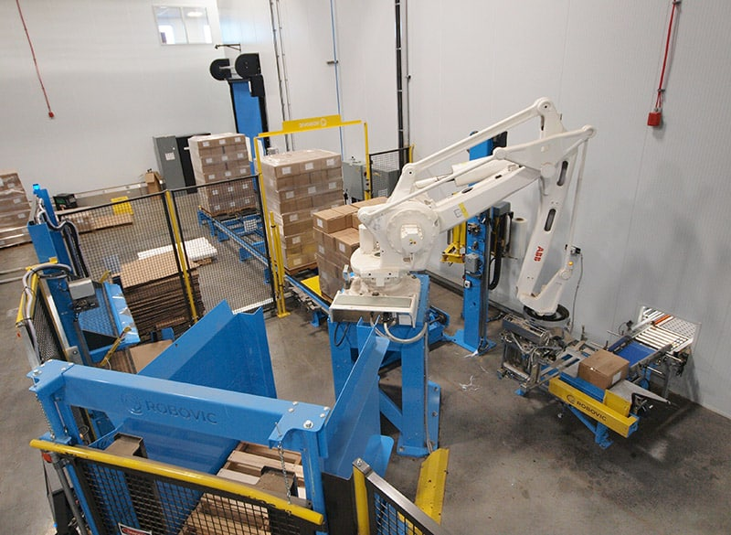 Automated palletizer in action
